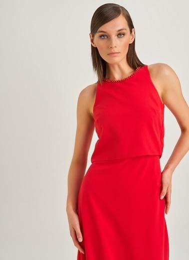 People By Fabrika Yakası İncili Abiye Elbise Kırmızı